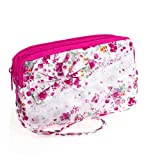 Traveling Fuchsia White Zip Up Lipstick Keys Holder Mini Cosmetic Bag for Woman