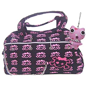 Crossbones Pink/black Tote Shoulder Handbag Plush Charm Included