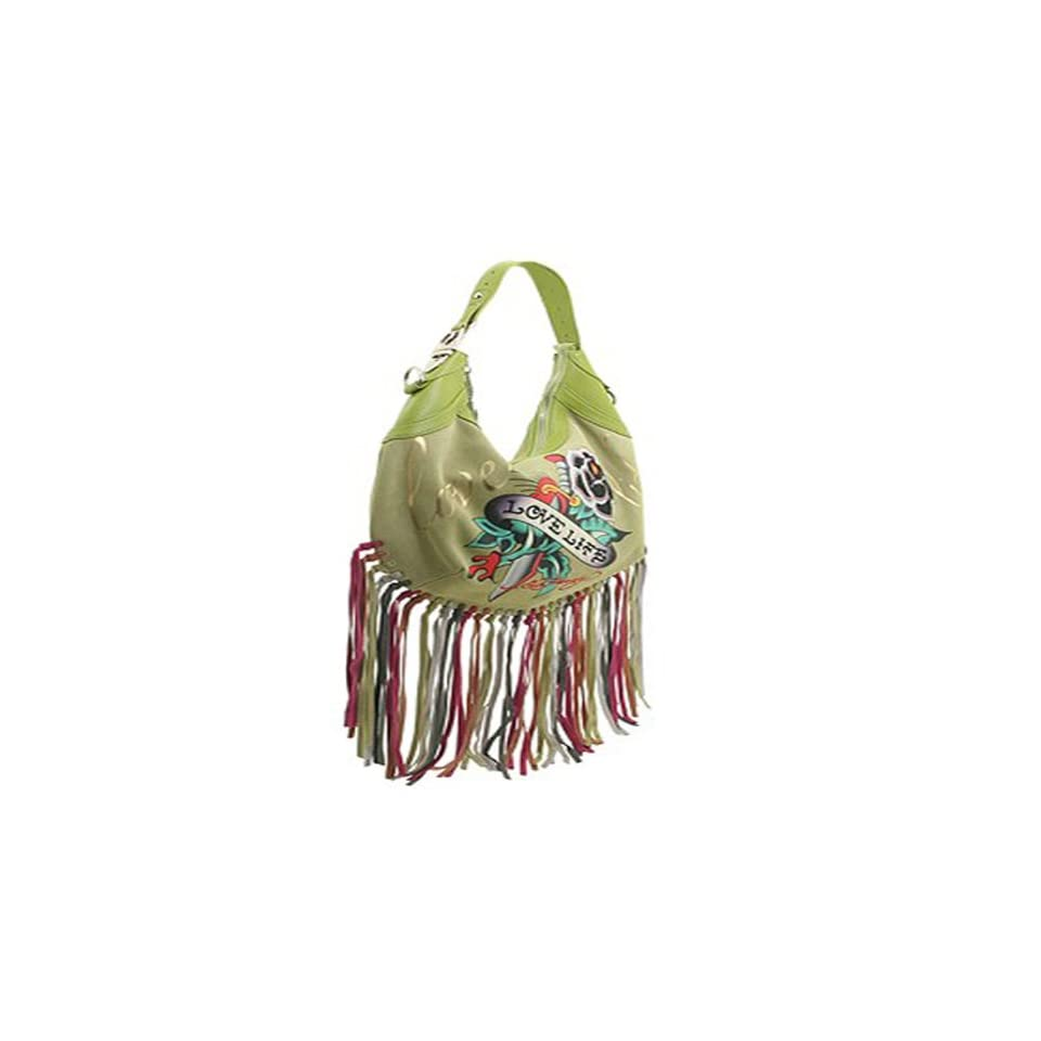 d6b89d7e7387 Ed Hardy Love Life Fringe Hobo Bag Green on PopScreen