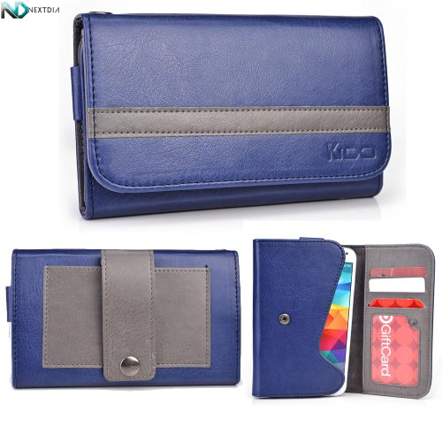 Faea F1 Phone Wallet With Belt Attachment Midnight Blue Gunmetal Gray With Credit Card Holder & Nd Velcro Cable Organizer