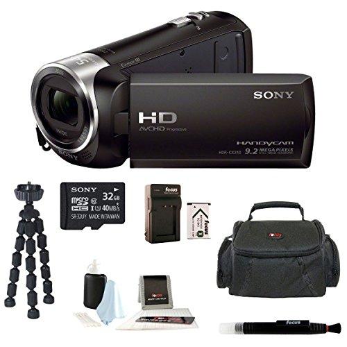 Sony Hdr-Cx240 Hdrcx240B Hdrcx240/B Full Hd Handycam Camcorder + Sony 32Gb Class 10 Micro Sdhc R40 Memory Card + Wasabi Power Battery + Soft Carry Case + Accessory Kit