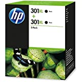HP 301XL 2-pack Black - Cartucho de tinta para impresoras (Negro, 480 páginas, HP Deskjet)