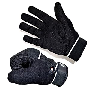Full Finger Cycling Gloves Black Gel Padded Dotty Textured Palms Towelling Thumb Neoprene All Sizes (Large - 24 cm Palm Circumference)