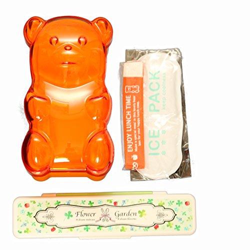 かわいい 動物 グーミーベアー & マイキー クリアー ランチ BOX ランチ ボックス (オレンジ)