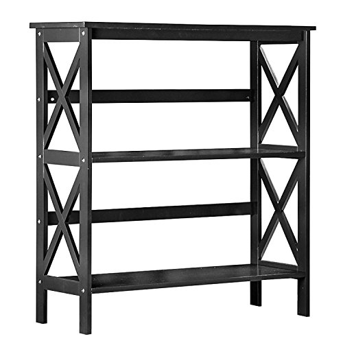 Merax Media Storage & Organization Shelf 3-Shelf Bookcase Display Cabinet (Black) Mission Style 3 Shelf Bookcase
