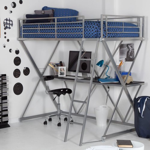 Duro Duro Z Bunk Bed Loft With Desk Silver Metal Twin Loft Bed