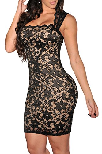 Dearlovers Women Vintage Slim Fit Lace Party Dress XX-Large Size Black (Dress Maker Pant Forms compare prices)