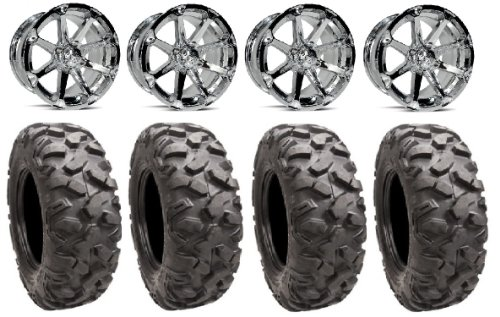 "Msa Chrome Diesel 14"" Atv Wheels 30"" Roctane Tires Sportsman Xp 550 850"