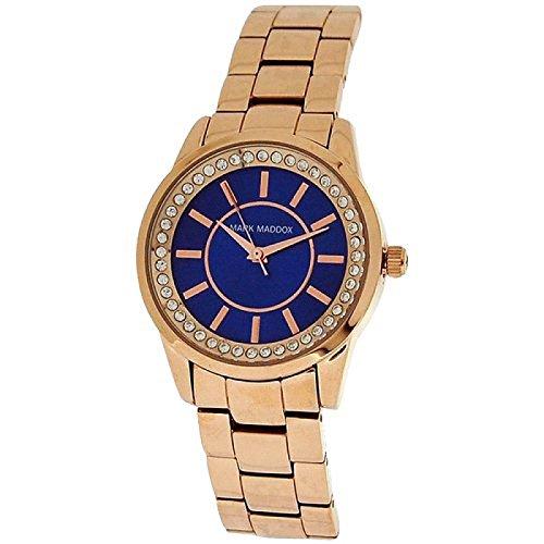 Mark Maddox de diamantes de imitación de las señoras de una esfera azul reloj de pulsera correa MM 0007-37
