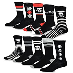 TeeHee Men\'s Cotton Crew Fashion Socks - 10 Pairs (S/51055+51056)