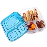 4 x Quick Lunch Boxes 3-compartment Bento Lunch Box Containers Classic Set of 4
