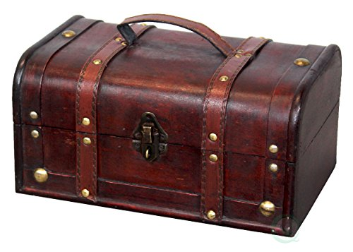 Vintiquewise(TM) Decorative Treasure Box - Wooden Trunk Chest