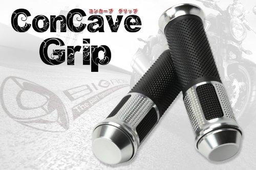 アルミ ハンドルグリップcorncave glip (シルバー)直径22.2mm規格ハンドルに適合!YAMAHA XJR1300 XJR400