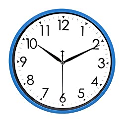 Hippih 10 Silent Quartz Decorative Wall Clock with Glass Cover Non-ticking Digital (Blue)