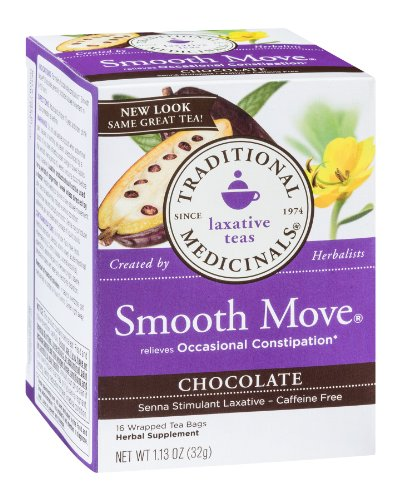 Traditional Medicinals Chocolate Smooth Move Tea - 16 Tea Bags, Pack Of 18