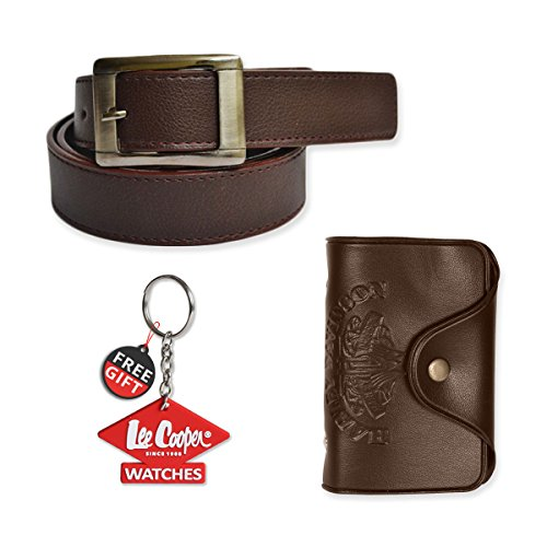 Mango People Brown Combo Set of Belt and Cardholder with FREE GIFT LEECOOPER KEY CHAIN For Men