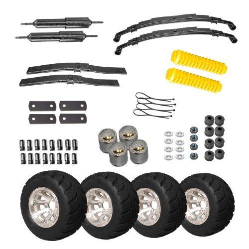 EZGO 750210PKG 2-Inch Midrise Lift Kit with 18 by 10-Inch 10-Speed Racer and Machined Diamond Wheel Package (7 Inch Lift Kit compare prices)