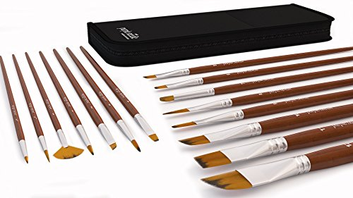 15 Piece Art Paint Brushes Set for Acrylic, Oil, Watercolor, Face Painting, Gouache, & Fine Detail - Paint Brush Set For Artist, Students, Professionals - Long Lasting Handmade Durable Quality
