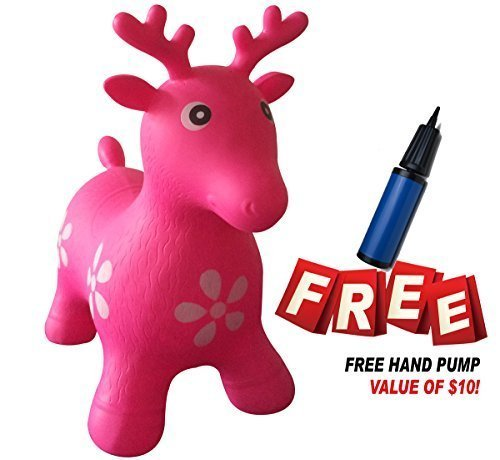 SUESPORT Inflatable Bouncer Seat, Reindeer, Pump Included Easy to Inflate, Space Hopper, Ride-on Bouncy Animal Hopper, CPSIA, Pink (Super Bounce Ball Kit compare prices)