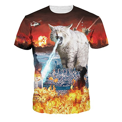 Wiboyjp メンズtシャツ 猫 ネコ 3d ヒップホップ スウェット t shirt 3dtシャツ 半袖tシャツ サマー メンズ 3D 春 夏 猫柄 プリント ファッション ストリート おもしろ おしゃれ