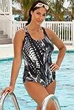 Aquabelle Chlorine Resistant! Spirograph Plus Size Cross Back Swimsuit Plus Size Swimsuit thumbnail
