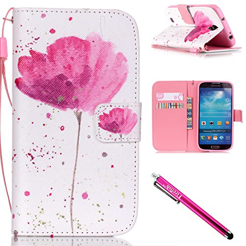 Galaxy S4 Case, Galaxy S4 Wallet Case, Firefish [Kickstand] [Shock Absorbent] Double Protective Case Flip Folio Slim Magnetic Cover with Wrist Strap for Samsung Galaxy S4 i9500-Flower (Iphone 5 Protective Sheets compare prices)