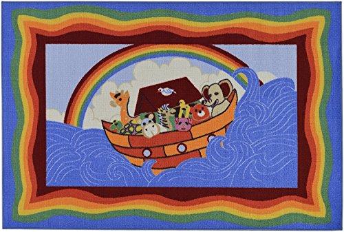 "Blue Children'S Noah'S Ark Design Non-Skid (No-Slip) Area Rug (3'3""X5'0"")"