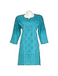 Nazakat Women Cotton Chikan Ocean Green Regular Fit Kurti (Size - 42)