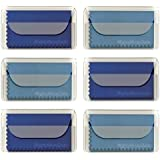 """MightyMicroCloth Premium Microfiber Cleaning Cloths 7"""" X 6"""" (6 pack) each in a Reclosable PVC Pouch for Eyeglasses, Lenses, Tablets, Phones & Devices , 3 Royal Blue, 3 Sky Blue"""