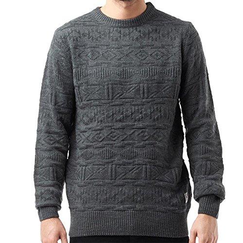 Da uomo di marca Bellfield akrane Carbone maglione con toppe sui gomiti S-XL grigio medium