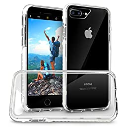 Orzly FUSION Bumper Case Cover Shell for Apple iPhone 7 PLUS (2016 Version of 5.5 inch Model) - Protective Hard Back Cover with Impact Absorbing Edges - 100% Clear with WHITE Rim