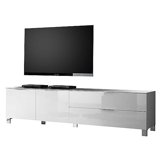 LC mobili Mobile TV Margherita II-Bianco lucido-210cm