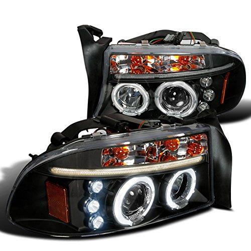 Spec-D Tuning 2LHP-DAK97JM-TM Dodge Dakota Durango Dual Halo Black Projector Head Lights (Dodge Dakota Back compare prices)