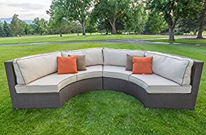 Curved wicker sofa sectional two piece set with antique for Curved sectional sofa amazon