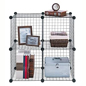 Stacking Wire Storage Cubes - Set of 4 in Silver