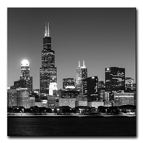 Modern Canvas Painting Wall Art The Picture For Home Decoration Panoramic View Of Chicago Skyline At Night In Black And White Place Cityscape Print On Canvas Giclee Artwork For Wall Decor (Chicago Skyline Framed Picture compare prices)