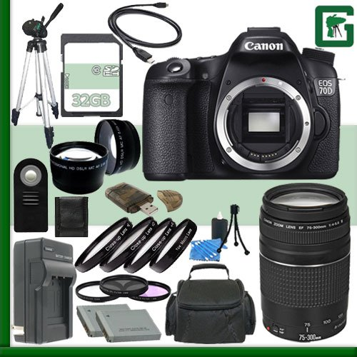 Canon EOS 70D Digital SLR Camera and Canon EF 75-300mm III Lens + 32GB Green's Camera Package 2 (Canon 7d Mark Ii Experience compare prices)