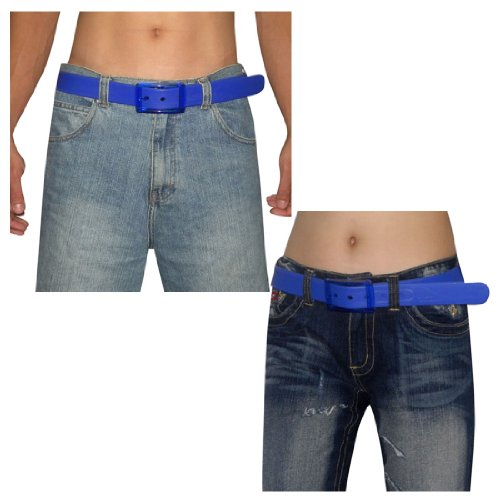 Unisex, Thick, Plastic Belt with Matching Detachable Buckle Blue, One Size