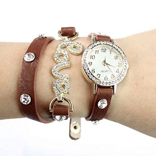 Zps(Tm) Fantastic Love Cz Leather Bracelet Wrist Watch Coffee