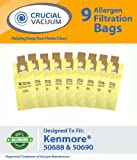Kenmore 50688, 50690 9-Pack Allergen Filtration Vacuum Cleaner Bags - Fits Kenmore 20-5068, 20-50681, 20-50688, 20-50690, Panasonic U-2, Sanyo PU-1, Kenmore Type O, Kenmore Type U Vacuum Cleaner Bags; Designed and Engineered By Crucial Vacuum