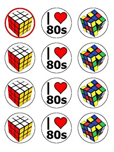 """Twelve 2"""" Rubiks Cube Vintage 80s Edible Image Cupcake ..."""