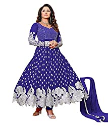 MEGHALYA Royalblue Color Georgette Embroidered Semi_Stiched Dress For Women