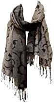 Lightweight Ombre Paisley Printed Silk Wool Shawl Stole Wrap Scarf Grey Black