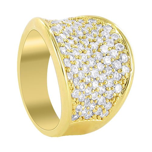Gold Plated Brass Designer 16mm Front Pave Set Round Clear CZ Saddle 7mm Band Polished Finish Ring Size 7