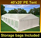 40'x20' PE Tent White - Heavy Duty Party Wedding Canopy Carport Shelter - By DELTA Canopies
