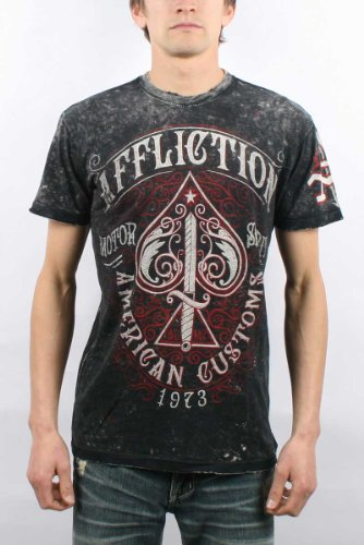 Affliction - Mens Death Spade Reversible T-Shirt In Black Lava Tint, Size: XX-Large, Color: Black Lava Tint