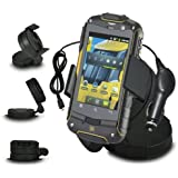Fone-Case JCB Toughphone Pro-Smart TP909 In Car Mini 360 Rotating Windscreen Cradle Mount Mobile Phone Holder With 12V Micro USB In Car Charger