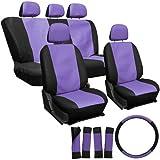 OxGord 17pc Leatherette Seat Cover Set, Airbag Compatible, for SUZUKI FORSA, Purple & Black