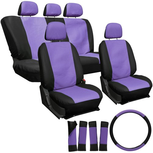 Oxgord 17Pc Leatherette Seat Cover Set, Airbag Compatible, For Scion Xa, Purple & Black front-394408