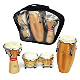 Percussion Drum Set with Conga, Bongos and Djembe with Carry Case